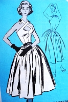 SEXY 50s Dramatic Cocktail Evening Dress Pattern Prominent Designer 155 Seductive Crossed Neckline Bust 36 Vintage Sewing Pattern UNCUT