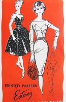 1950s STUNNING Estevez Cocktail Party Dress Pattern Prominent Designer 221 Figure Moulding Sheath or Full Skirt Gorgeous Styles Bust 31 Vintage Sewing Pattern