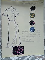 1950s Vintage SALESMAN SAMPLE Dress Sketch Print and Fabric Swatches Perfect To Frame Sewing Room Inspiration For Dress or Fabric Designer,Fashion Interest, Gift