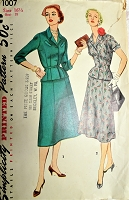 1950s FLATTERING Suit Dress Pattern SIMPLICITY 1007 Lovely Fitted Jacket and Flared Skirt,2 Versions Bust 35 Vintage Sewing Pattern