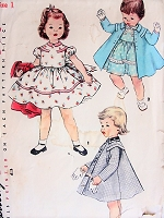 1950s SWEET Toddlers Dress and Coat Pattern SIMPLICITY 1021 Little Girls Party Dress Size 1 Childrens Vintage Sewing Pattern