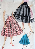 1950s CLASSIC Full Skirt Simplicity 1087 Waist 26 Vintage Sewing Pattern