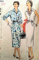 50s CLASSY Slim Dress Pattern SIMPLICITY 1114 Day or After 5 Shirtdress Simple To Make Bust 34 Vintage Sewing Pattern
