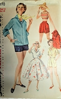 1950s FAB Weekend Wardrobe Pattern SIMPLICITY 1170 Pullover Shirt,Midriff Top,Full Skirt, and High Waist Shorts Bust 30 Vintage Sewing Pattern