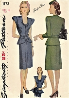1940s LOVELY Day or Dinner Peplum Dress Pattern SIMPLICITY 1172 Detachable Peplum Bust 36 Simple To Make Vintage Sewing Pattern