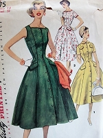 1950s Vintage ELEGANT Dress In Two Styles Simplicity 1175 Bust 32 Sewing Pattern