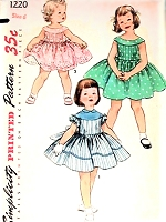 1950s SWEET Little Girls Pretty Dress Pattern SIMPLICITY 1220 Two Delightful Styles Size 6 Childrens Vintage Sewing Pattern