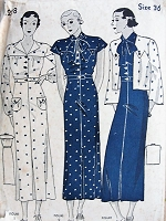 1930s ART DECO Slim Dress and Eton Jacket Pattern SIMPLICITY 1228 Three Classic Thirties Designs Bust 36 Vintage Sewing Pattern