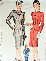 1940s STYLISH Suit Pattern SIMPLICITY 1249 Figure Flattering Jacket With Slim Princess Lines, Slim Skirt Bust 34 Vintage Sewing Pattern