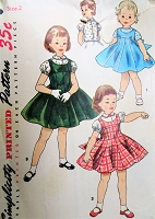 1950s CHARMING Little Girls Jumper Dress and Sweet Blouse Pattern SIMPLICITY 1251 Lovely Design Size 2 Childrens Vintage Sewing Pattern