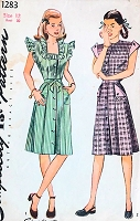 1940s CUTE Front Button Dress Pattern SIMPLICITY 1283 War Time WW II Style, 2 Pretty Necklines Bust 30 Vintage Sewing Pattern