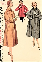 1950s STYLISH Coat or Jacket Pattern SIMPLICITY 1286  Lovely Style Details Bust 32 Vintage Sewing Pattern UNCUT