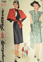 1940s STUNNING Dress and Cape Pattern SIMPLICITY 1289 Beautiful Design Day or Evening Party Dress Bust 34 Vintage Sewing Pattern