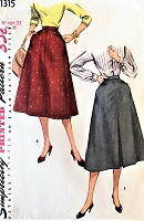 1950s  STYLISH Flared Skirt Pattern SIMPLICITY 1315 Features Yoke Pockets, 2 Style Versions Waist 26 Vintage Sewing Pattern