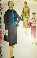 1950s CLASSIC 3 Pc Suit Pattern SIMPLICITY 1321 Boxy Jacket,Slim Skirt and Fitted Over Blouse Bust 43 Vintage Sewing Pattern
