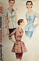 1950s CHIC Peplum Overblouse Pattern SIMPLICITY 1344 Three Lovely Blouse Styles Daytime or Evening Bust 34 Vintage Sewing Pattern