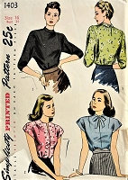 1940s CLASSIC Vintage Blouses in Three Styles Simplicity 1403 Bust 34 Sewing Pattern