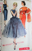 1950s BEAUTIFUL Party Evening Dress Pattern SIMPLICITY 1452 Bateau Neck Sheath With Overskirt and Stole Bust 32 Perfect For Sari Fabrics Simple To Make Vintage Sewing Pattern