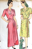 1940s GLAMOROUS Housecoat Hostess Dress and House Dress Pattern SIMPLICITY 1460 Figure Flattering Surplice Bodice, Side Cascade Drape Bust 34 Vintage Sewing Pattern