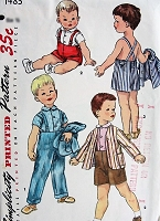 1950s Vintage ADORABLE Toddlers Shirt, Jacket, and Pants Simplicity 1483 Toddler Size 2 Little Boys Vintage Sewing Pattern