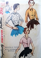 1950s Vintage STYLISH Blouse with Two Collar Styles Simplicity 1492 Sewing Pattern Bust 32