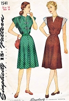 1940s PRETTY Dress Pattern SIMPLICITY 1541 Two Style Versions Cap or 3/4 Sleeves Bust 32 Vintage Sewing Pattern