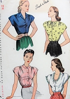 1940s PRETTY Blouse Pattern SIMPLICITY 1554 Four Lovely Versions SIMPLE To Make Bust 32 Vintage Sewing Pattern