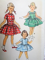 1950s CHARMING Little Girls Dress Pattern SIMPLICITY 1558 Three Pretty Styles Size 4 Childrens Vintage Sewing Pattern