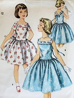1950s LOVELY Girls Party Dress Pattern SIMPLICITY 1633 Full Skirt Dress Very Pretty Style Size 12 Childrens Vintage Sewing Pattern