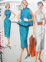 Vintage 1950s ELEGANT Slim Dress with Jacket and Cummerbund Simplicity 1651 Sewing Pattern Bust 32
