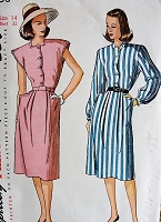1940s Vintage BREEZY Button Up Dress in Two Styles Simplicity 1658 Bust 32 Sewing Pattern