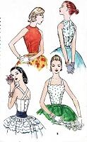 50s STUNNING Set of Blouses Pattern SIMPLICITY 1661 Two Daytime or Evening Styles Cut In Shaped Arms or Scalloped Neckline Criss Cross Back Tops Bust 36 Vintage Sewing Pattern