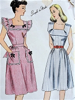 1940s WW II CUTE Summer Dress Pattern SIMPLICITY 1663 Two Pretty Styles Bust 34 Vintage Sewing Pattern
