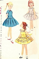 1950s CUTE Girls Dress Pattern SIMPLICITY 1670 Three Lovely Versions Long Torso Style Day or Party Dresses Size 6 Vintage Childrens Sewing Pattern