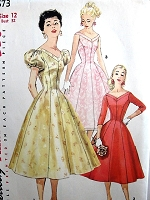1950s LOVELY Party Dress Pattern SIMPLICITY 1673 Princess Style Figure Flattering Cocktail Evening Dress V BNecklines, 3 Style Versions Bust 32 Vintage Sewing Pattern
