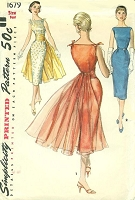 1950s STUNNING Draped Skirt Evening Dress Pattern SIMPLICITY 1679 Two Lovely Sheath Dress Versions, Flowing Panel and Cummerbund Bust 32 Vintage Sewing Pattern