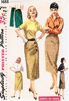1950s CLASSY Slim Wrap Around Skirt Pattern SIMPLICITY 1688 Simple To Make Whiz-Wrap Vintage Sewing Pattern