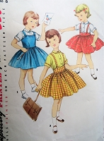 1950s CHARMING Girls Jumper, Skirt and Blouse Pattern SIMPLICITY 1702 Size 6 Simple To Make Childrens Vintage Sewing Pattern