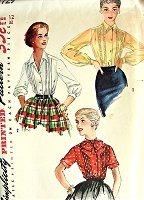 1950s PRETTY Blouse Pattern SIMPLICITY 1729 Three Lovely Style Versions Bust 32 Vintage Sewing Pattern