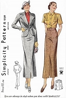 1930s ART DECO Suit and Blouse Pattern SIMPLICITY 1739 Classy Slim Skirt, Fitted Jacket and Tailored Blouse Bust 32 NRA Vintage Sewing Pattern