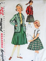 1950s CLASSIC  Girls Blazer Jacket and Pleated Skirt Pattern SIMPLICITY 1740 Two Style Versions Size 8 Vintage Childrens Sewing Pattern