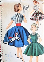 1950s CUTE Girls Jumper Circle Skirt and Blouse Pattern SIMPLICITY 1741 Sweet Horse Applique Transfer Size 7 Childrens Vintage Sewing Pattern