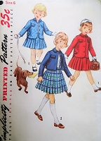 1950s SWEET Girls Pleated Skirt and Jacket Pattern SIMPLICITY 1747 Little Girls Size 6 Childrens Vintage Sewing Pattern FACTORY FOLDED