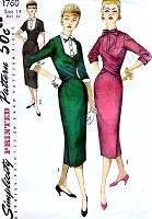 1950s FABULOUS Cross Draped Bodice Dress Pattern SIMPLICITY 1760 Flattering Slim Dress and Detachable Dickey and Cuffs Bust 34 Vintage Sewing Pattern FACTORY FOLDED