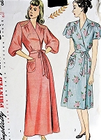 1940s Vintage LOVELY Housecoat with Embroidered Details Simplicity 1778 Sewing Pattern Bust 41