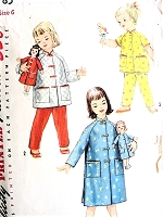 1950s CUTE Little Girls Lounging Pajamas and Bathrobe With Matching Doll Coat Pattern SIMPLICITY 1785 Doll Coat Fits Posie and Saucy Walker Dolls Toddler Childrens Size 4 Vintage Childrens Sewing Pattern FACTORY FOLDED