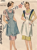 1940s FARMHOUSE Full Bib Apron Pattern SIMPLICITY 1794 Cute Large Pockets Back-Cross Straps Floral Embroidery Transfer Bust 34-36 Vintage Sewing Pattern