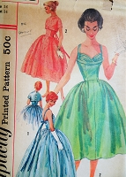 1950s GLAM Evening Gown or Cocktail Dress and Jacket Pattern SIMPLICITY 1848 Figure Flattering Pleated Shaped Shelf Bust Low Back Full Dreamy Skirt Bust 34 Vintage Sewing Pattern