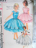 1950s BEAUTIFUL Girls Party Dress pattern SIMPLICITY 1857 Three Lovely Styles and 2 Lengths Size 8 Vintage Childrens Sewing Pattern