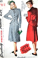 1940s FLATTERING Peplum Jacket Suit Pattern SIMPLICITY 1865 Fitted Cutaway Princess Line Jacket Back Peplum, Flared Skirt Bust 36 Vintage Sewing Pattern FACTORY FOLDED